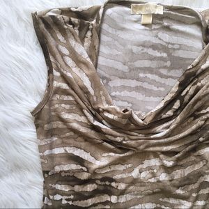 Michael Kors Tops - Michael Kors Neutral Animal Print Drape Neck Top